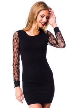 Черное платье с прозрачными рукавами Mondigo