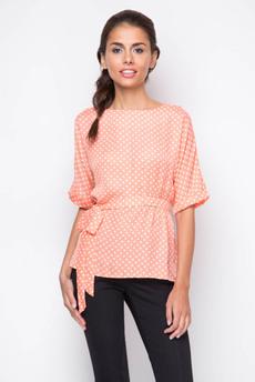 Свободная блузка с поясом и короткими рукавами Marimay