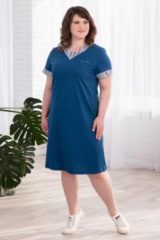Синее хлопковое платье Шарлиз
