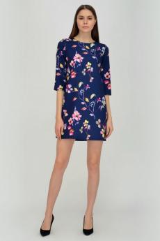 Синее платье с цветами Viserdi
