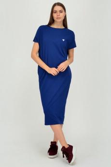 Синее трикотажное платье из хлопка Viserdi